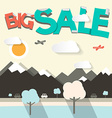 Big Sale Flat Design with Mountains and Cars vector image
