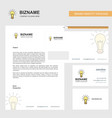 bulb business letterhead envelope and visiting vector image vector image