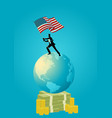 businessman holding flag usa on world globe vector image