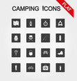 camping icons set icon flat vector image
