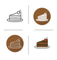 chocolate cake with cherry on plate icon vector image