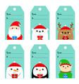 christmas gift tag set santa claus elf snowman vector image vector image