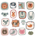 collection cute hand drawn animal faces vector image
