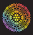 colorful rainbow ethnic mandala on black vector image vector image