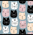cute cats faces seamless pattern childish vector image vector image