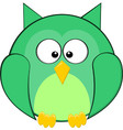 Cute Fat Rounded Green Owl Cartoon Animal vector image vector image