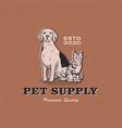 dog cat pet supply vintage retro logo icon vector image vector image