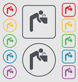 drinking fountain icon sign symbol on the Round vector image