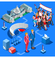 Election Infographic Us Political Isometric People vector image