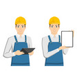 engineer with a tablet computer vector image vector image