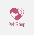 Flat pet shop logo with dog and man are best vector image