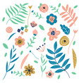 flowers and leaves graphic floral design elements vector image vector image