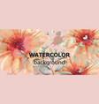 gerbera floral banner watercolor beautiful vector image vector image