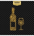 Gold glitter icon of wine bottle isolated vector image