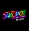 jackpot gambling game bright neon banner with vector image vector image
