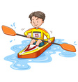 Man doing kayaking alone vector image vector image