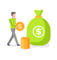 man golden coin in hands bag with dollar money vector image vector image