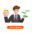 man holding clock alarm and money vector image vector image