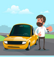 man holding the key of a new car cartoon vector image