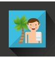 man shorts towel beach vacations coconut tree vector image vector image