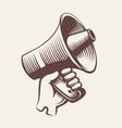 megaphone vintage engraving hand drawn vector image