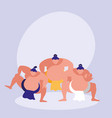 men practicing sumo avatar character vector image