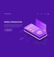 mobile transaction isometric concept payment for vector image vector image