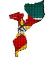 Mozambique map with flag inside vector image vector image