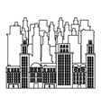 outline buildings and cityscape scene icon vector image