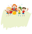 paper template with children in the band vector image vector image