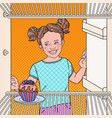 pop art little girl sees tasty cake in the fridge vector image vector image