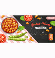 realistic baked beans background vector image vector image