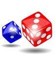 Red and blue dice vector image