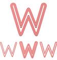 Red line w letter logo design set vector image vector image