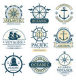 Retro nautical labels badges logos and