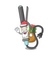 santa with gift curling iron above dressing table vector image vector image