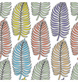 seamless pattern with colored palm leaves vector image
