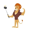 Selfie photo shot lion young power strong man vector image