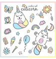 set of caticorn with cosmetics sweets and flower vector image