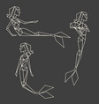 set of polygon linear graphic mermaids vector image