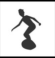 silhouette of man surfer riding on surfboard vector image vector image