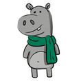 smiling grey hippo with gren scarf on white vector image vector image