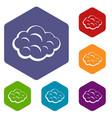 summer cloud icons set hexagon vector image vector image