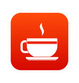 tea cup and saucer icon digital red vector image vector image