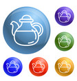 tea pot icons set vector image