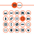 technology icons set with smart watch loudspeaker vector image