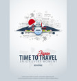 travel to japan time to travel banner with vector image vector image