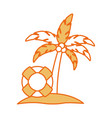 tree palm with float summer icon vector image vector image