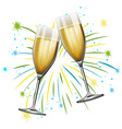 Two glasses of champagne with firework background vector image vector image
