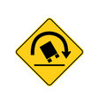 usa traffic road sign right curve aheadtruck vector image vector image
